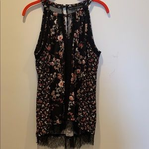 WHBM size M black and lace floral sleeveless top